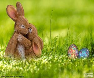 puzzel Pasen konijnen omarmd