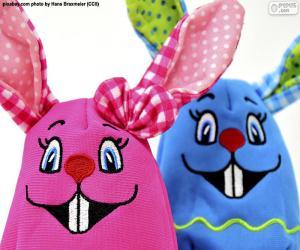 puzzel Pasen konijnen van doek