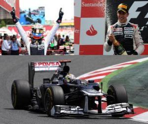 puzzel Pastor Maldonado viert zijn overwinning in de Grand Prix van Spanje (2012)