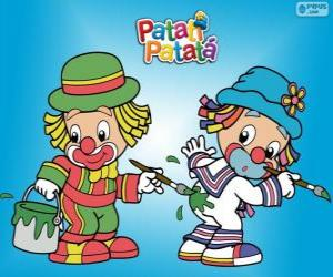 puzzel Patati Patatá de clowns, twee schilders