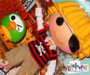 puzzel Patch Treasurechest van Lalaloopsy met zijn huisdier, een papegaai