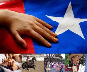 puzzel Patriottische vieringen in Chili. De achttiende gehouden op 18 en 19 september ter herdenking van Chili als een onafhankelijke staat