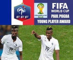 puzzel Paul Pogba, jonge speler award. Brazilië 2014 Football World Cup