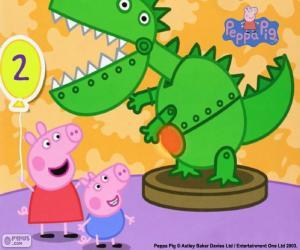puzzel Peppa Pig en de dinosaurus