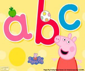 puzzel Peppa Pig en de letters abc