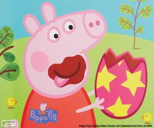 puzzel Peppa Pig eten van een ei