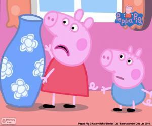 puzzel Peppa varken en de blauwe vaas