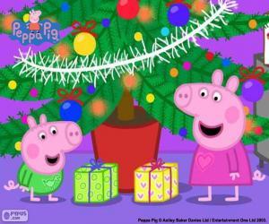 puzzel Peppa varken en George met Kerstmis