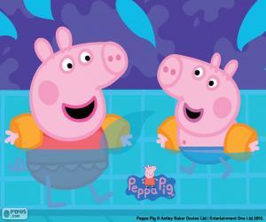 puzzel Peppa varken gaat zwemmen