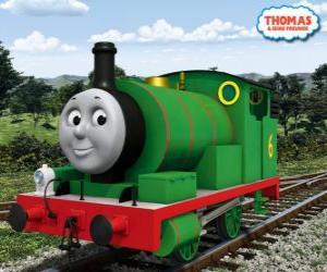 puzzel Percy, de jongste locomotief, groen gekleurd en met het nummer 6. Percy is de beste vriend van Thomas