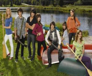 puzzel Personages in Camp Rock Tess, Nate, Shane, Mitchie, Jason, Ella, Peggy en Caitlyn