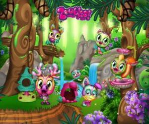 puzzel Pinegrove waar de Zoobles verbergen, rennen, zwemmen en spelen