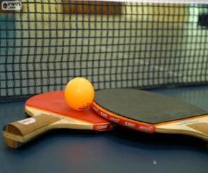 puzzel Ping-Pong rackets en bal