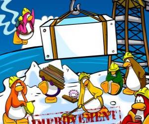 puzzel Pinguïns werken in de bouw in de Club Penguin