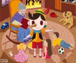 puzzel Pinokkio. De houten marionet die wordt een kind