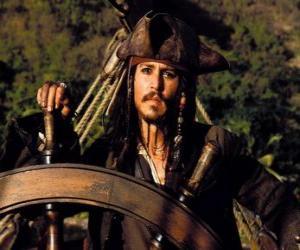 puzzel Piraat kapitein aan het roer van zijn boot