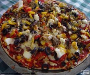 puzzel Pizza met olijven en paprika