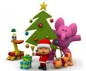 puzzel Pocoyo en zijn vrienden met kerst