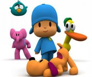 puzzel Pocoyo en zijn vrienden Pato, Elly, Loula en Sleepy Bird