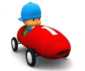 puzzel Pocoyo het besturen van een race-auto