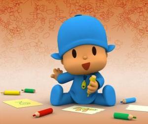puzzel Pocoyo zittend op de vloer en het maken van een tekening op een vel papier