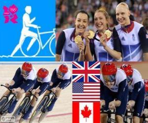 puzzel Podium fietsen track uitoefening door vrouwen 4000m teams, Verenigd Koninkrijk, Verenigde Staten en Canada - Londen 2012-
