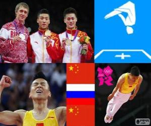 puzzel Podium gymnastiek in mannen Trampoline, Dong Dong (China), Dmitry Ushakov (Rusland) en Lu Chunlong (China) - Londen 2012 -