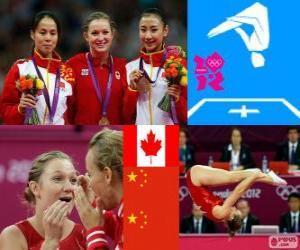 puzzel Podium gymnastiek in vrouwen trampoline, Rosannagh, Maclennan (Canada), Huang Shanshan en hij Wenna (China) - Londen 2012-