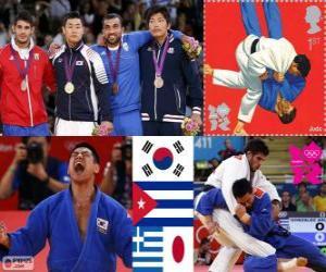 puzzel Podium Judo mannen - 90 kg, Asley González (Cuba), Masashi Nishiyama (Japan) - Londen 2012- en Ilias Iliadis (Griekenland), Song Dae-Nam (Zuid Korea)