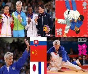 puzzel Podium Judo women's - 63 kg, Urška Žolnir (Slovenië), Xu Lili (China) en Gevrise Emane (Frankrijk), Yoshie Ueno (Japan) - Londen 2012-