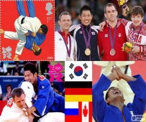puzzel Podium mannen Judo - 81 kg, Kim Jae-Bum (Zuid-Korea), Ole Bischof (Duitsland) en Ivan Nifontov (Rusland), Antoine Valois-Fortier (Canada) - Londen 2012-