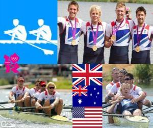 puzzel Podium roeien mannen vier-zonder-vier, Verenigd Koninkrijk, Australië en Verenigde Staten - Londen 2012-
