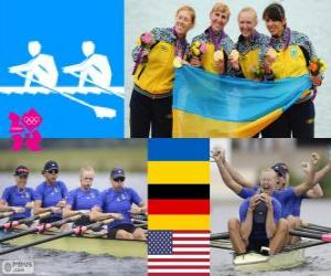 puzzel Podium roeien vrouwen quadruple skiff, Oekraïne, Duitsland en de Verenigde Staten - Londen 2012-