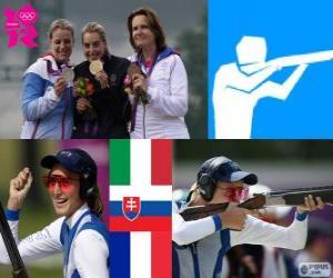 puzzel Podium schieten vrouw Val, Jessica Rossi (Italië), Zuzana Štefečekova (Slowakije) en Delphine Réau (Frankrijk) - Londen 2012-
