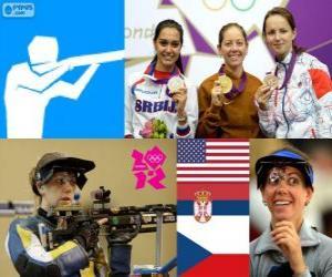 puzzel Podium schieten vrouwen, 50 meter geweer drie posities, Jamie Lynn Gray (Verenigde Staten), Ivana Maksimović (Servië) en Adela Sykorova (Tsjechië) - Londen 2012-