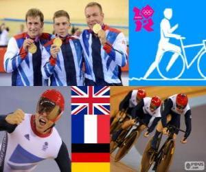 puzzel Podium track mannen teamsprint, Verenigd Koninkrijk, Frankrijk en Duitsland - Londen 2012 - fietsen