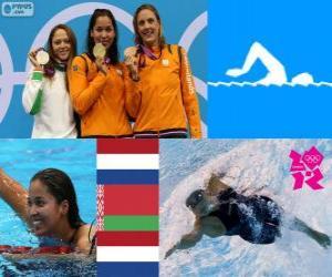 puzzel Podium zwembad 50 m vrouwen vrije stijl, Marleen Veldhuis, Ranomi Kromowidjojo (Nederland) en Aliaxandra Herasimenia (Wit-Rusland) (Nederland) - Londen 2012-