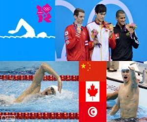 puzzel Podium zwemmen mannen 1500 meter vrije slag, Sun Yang (China), Ryan Cochrane (Canada) en Oussama Mellouli (Tunesië) - Londen 2012-