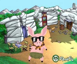 puzzel Pokopet Tork, een varken met een zonnebril, een huisdier uit Panfu