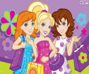 puzzel Polly Pocket winkelen met haar vrienden