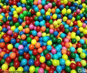 puzzel Pool van kleurrijke ballen