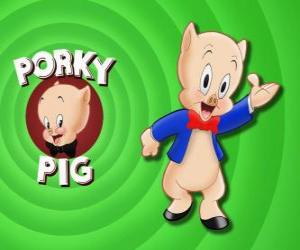 puzzel Porky Pig, een geanimeerde cartoon personage in Loonely Tunes van de Warner Bros