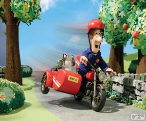 puzzel Postman Pat met zijn motorfiets