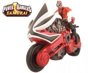 puzzel Power Ranger Samurai Red Cycle