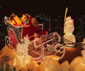 puzzel Prachtige kerstmarkt slee veel presenteert
