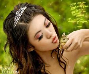 puzzel Prinses geeft een kus een kikker