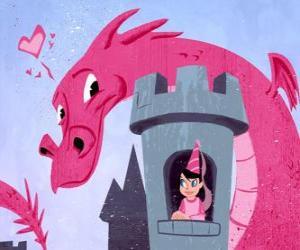 puzzel Prinses in haar kasteel bewaakt door een grote draak