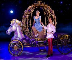 puzzel Prinses Prins helpen zijn rijtuig naar beneden