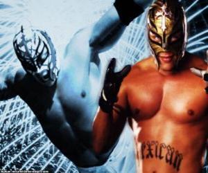 puzzel Professioneel worstelaar die met een masker klaar voor de strijd, professioneel worstelen is een sport show