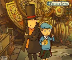 puzzel Professor Layton en zijn assistent Luke Triton, de belangrijkste protagonisten van het mysterie en puzzel spellen voor Nintendo